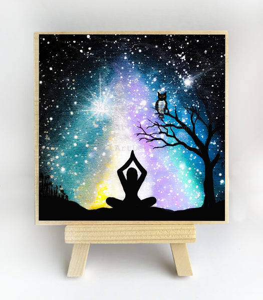 Meditating in front of a colorful galaxy - night - silhouette - original miniature art print on 4 x 4 wood-Print-Easel Wood-PocketArtDesigns-Original Art-wall rt
