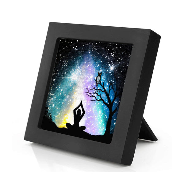 Meditating in front of a colorful galaxy - night - silhouette - original miniature art print on 4 x 4 wood-Print-Mini Frame (+$5.00)-PocketArtDesigns-Original Art-wall rt