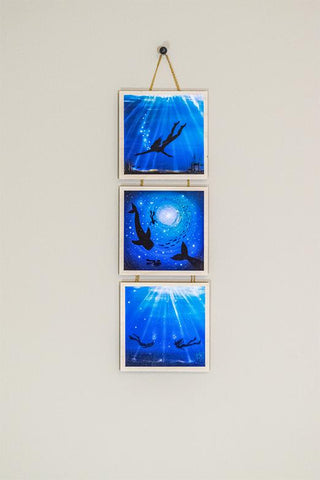Underwater story - silhouette - original miniature art print set of 3 on 4 x 4 wood