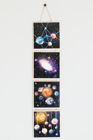Planet galaxy story - silhouette - original miniature art print set of 4 on 4 x 4 wood
