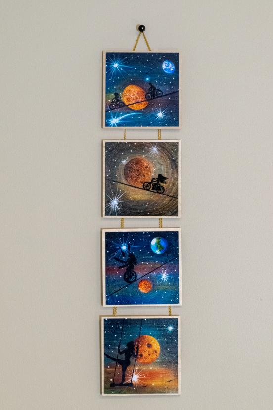 Mars circus story - silhouette - original miniature art print set of 4 on 4 x 4 wood