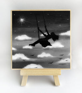 Girl swing in the sky - night - black and white - silhouette - original miniature art print on 4 x 4 wood-Print-Easel Wood-PocketArtDesigns-Original Art-wall rt