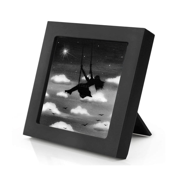 Girl swing in the sky - night - black and white - silhouette - original miniature art print on 4 x 4 wood-Print-Mini Frame (+$5.00)-PocketArtDesigns-Original Art-wall rt