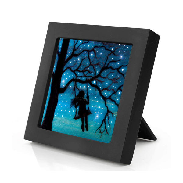 Girl swing on a tree - night - silhouette - original miniature art print on 4 x 4 wood-Print-Mini Frame (+$5.00)-PocketArtDesigns-Original Art-wall rt