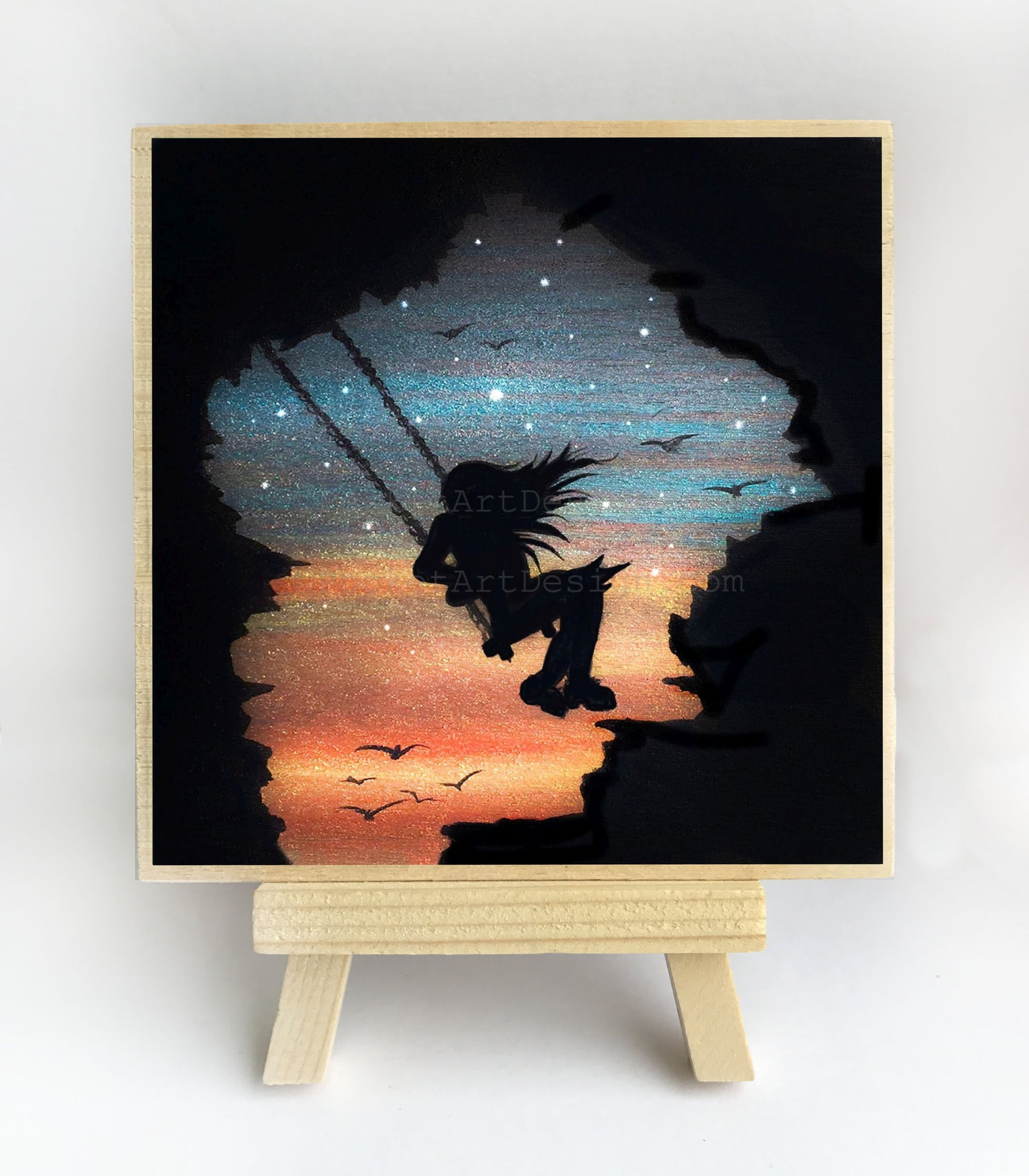Girl swing in the sky - cave - night - silhouette - original miniature art print on 4 x 4 wood-Print-Easel Wood-PocketArtDesigns-Original Art-wall rt