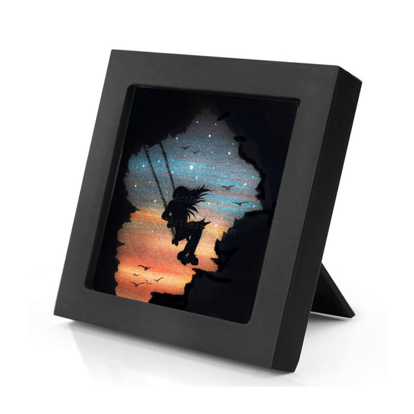 Girl swing in the sky - cave - night - silhouette - original miniature art print on 4 x 4 wood-Print-Mini Frame (+$5.00)-PocketArtDesigns-Original Art-wall rt