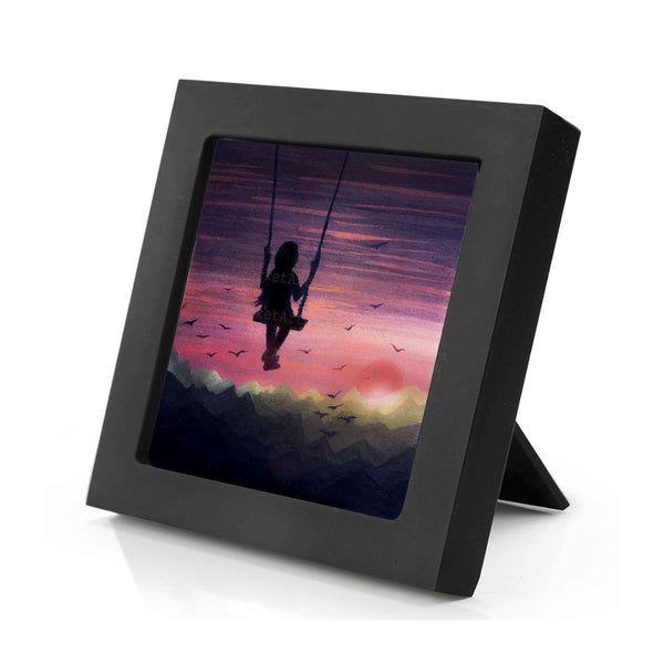 Girl swing in the sky - night - silhouette - original miniature art print on 4 x 4 wood-Print-Mini Frame (+$5.00)-PocketArtDesigns-Original Art-wall rt