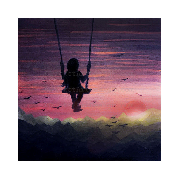 Girl swing in the sky - night - silhouette - original miniature art print on 4 x 4 wood-Print-Easel Wood-PocketArtDesigns-Original Art-wall rt