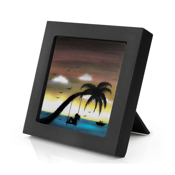 Girl swing on a palm tree in front of the ocean - silhouette - original miniature art print on 4 x 4 wood-Print-Mini Frame (+$5.00)-PocketArtDesigns-Original Art-wall rt