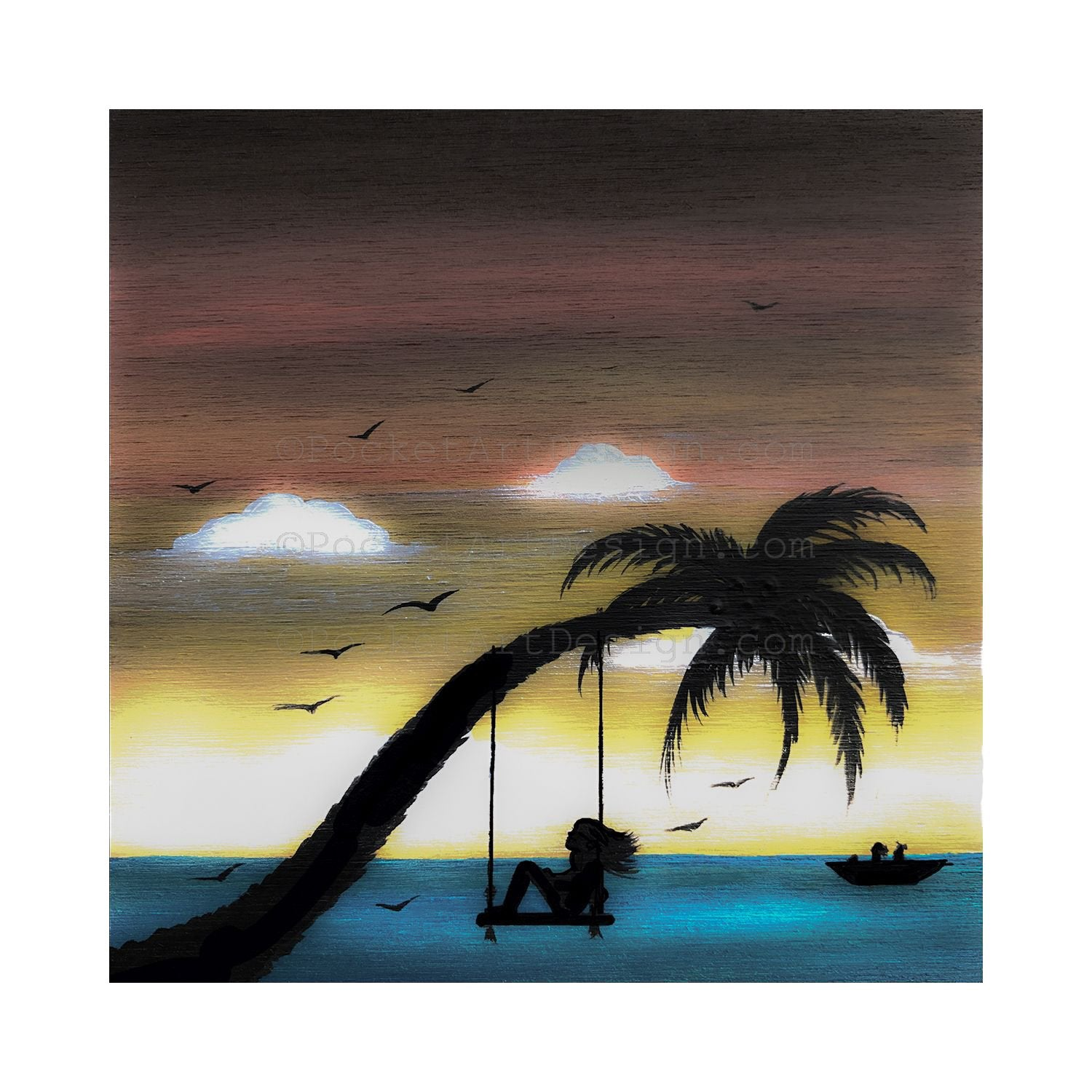 Girl swing on a palm tree in front of the ocean - silhouette - original miniature art print on 4 x 4 wood-Print-Easel Wood-PocketArtDesigns-Original Art-wall rt