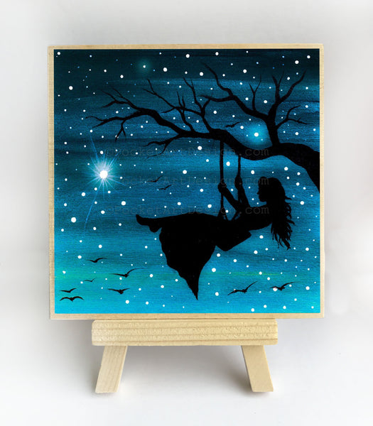 Girl swing on a tree - night - silhouette - original miniature art print on 4 x 4 wood-Print-Easel Wood-PocketArtDesigns-Original Art-wall rt