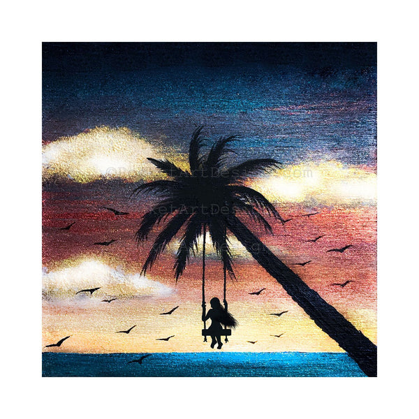 Girl swing on palm tree - night - silhouette - original miniature art print on 4 x 4 wood-Print-Easel Wood-PocketArtDesigns-Original Art-wall rt