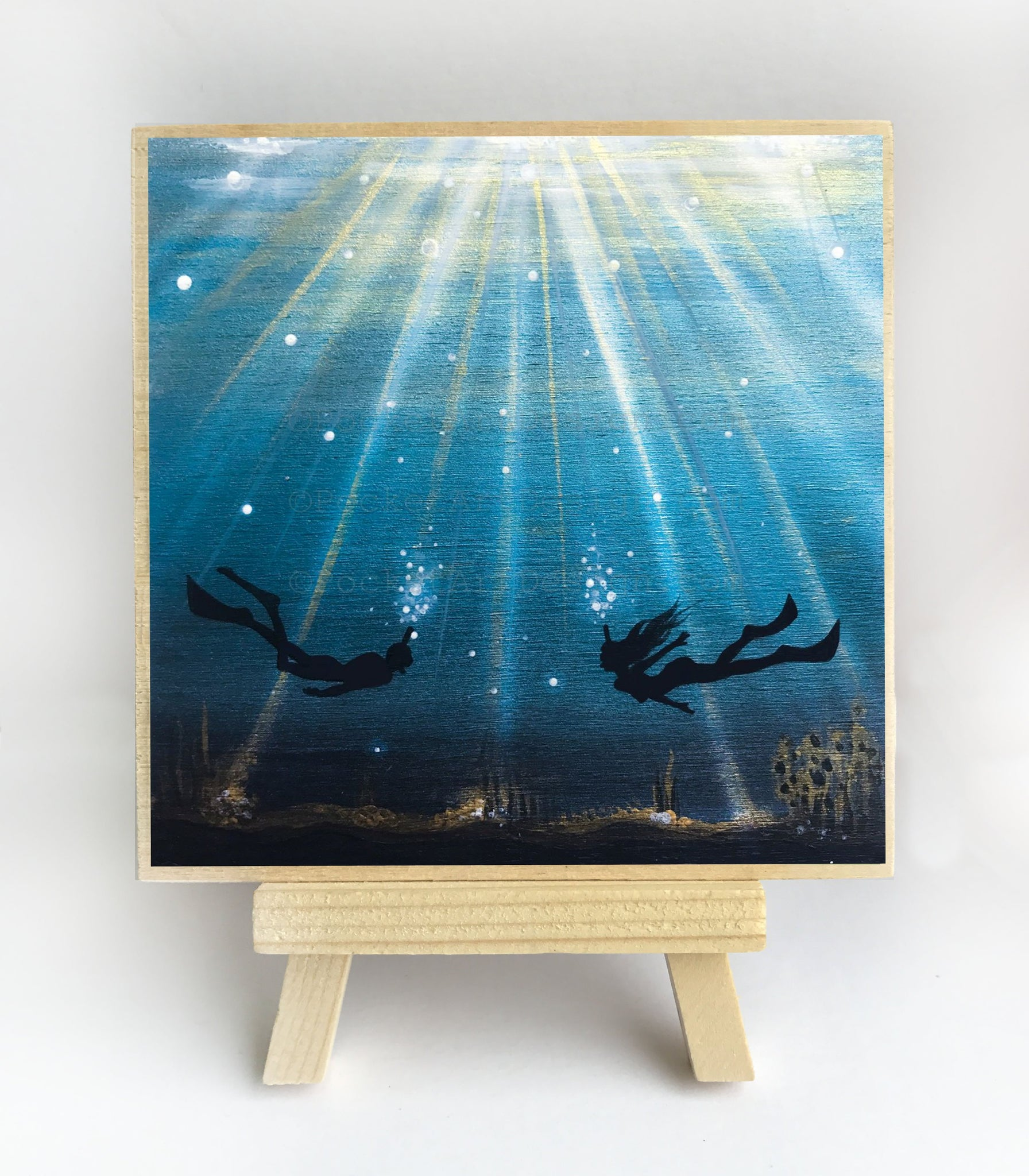 Scuba divers swim - underwater - silhouette Original miniature art Print on 4 x 4 wood-Print-Easel Wood-PocketArtDesigns-Original Art-wall rt