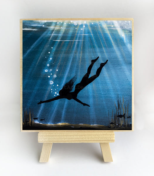 Woman swim - underwater - silhouette Original miniature art Print on 4 x 4 wood-Print-Easel Wood-PocketArtDesigns-Original Art-wall rt