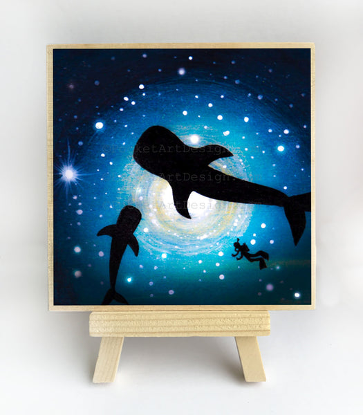 Whales and Scuba diver swim - underwater - silhouette Original miniature art Print on 4 x 4 wood-Print-Easel Wood-PocketArtDesigns-Original Art-wall rt