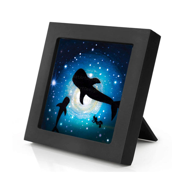 Whales and Scuba diver swim - underwater - silhouette Original miniature art Print on 4 x 4 wood-Print-Mini Frame (+$5.00)-PocketArtDesigns-Original Art-wall rt