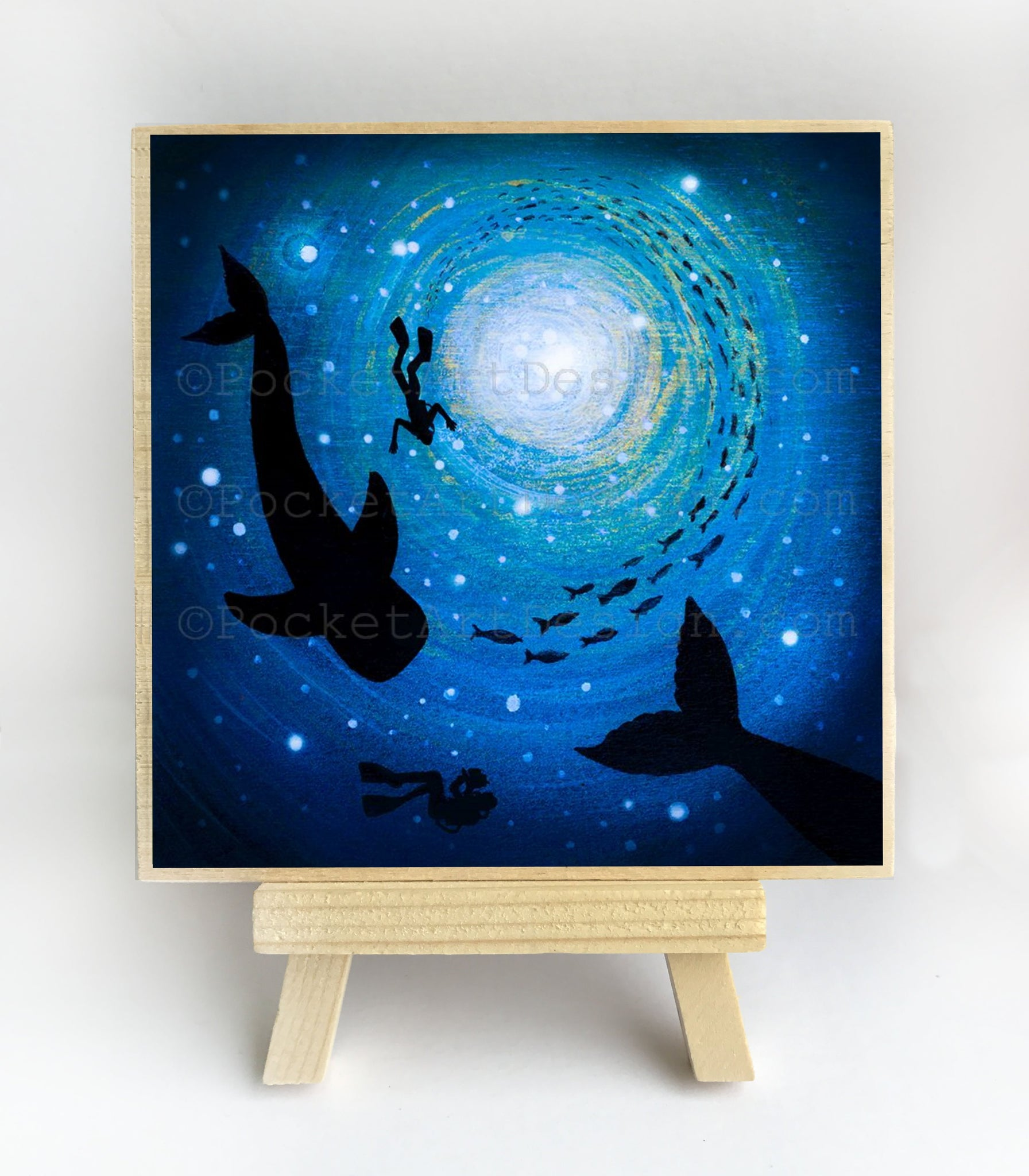 Whales and scuba divers swim - underwater - silhouette Original miniature art Print on 4 x 4 wood-Print-Easel Wood-PocketArtDesigns-Original Art-wall rt