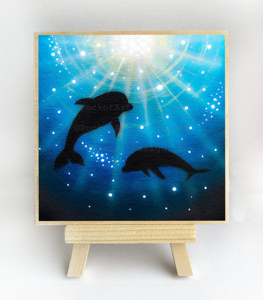 Dolphins swim - underwater - silhouette Original miniature art Print on 4 x 4 wood-Print-Easel Wood-PocketArtDesigns-Original Art-wall rt
