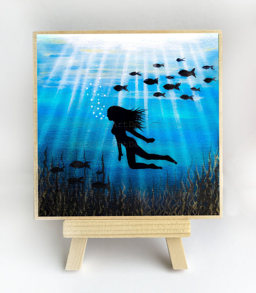 Fish and woman swimming - underwater - silhouette Original miniature art Print on 4 x 4 wood-Print-Easel Wood-PocketArtDesigns-Original Art-wall rt