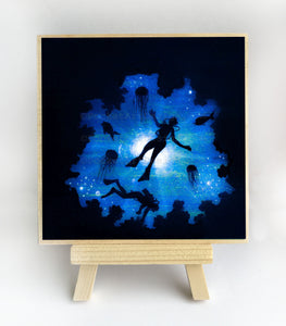 Scuba divers and jelly fish swim- silhouette Original miniature art Print on 4 x 4 wood-Print-Easel Wood-PocketArtDesigns-Original Art-wall rt