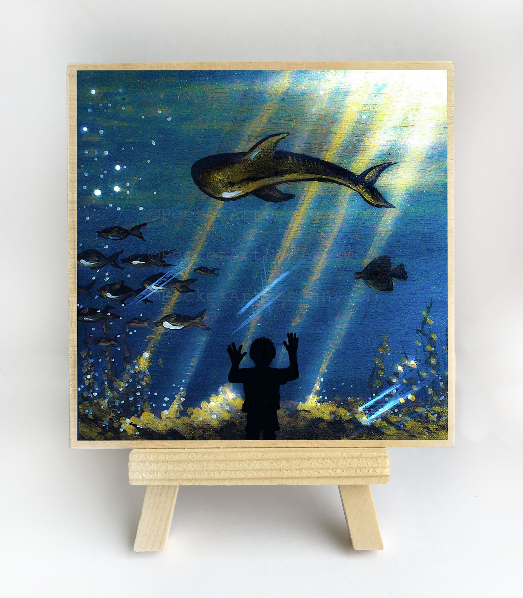 Aquarium - silhouette Original miniature art Print on 4 x 4 wood-Print-Easel Wood-PocketArtDesigns-Original Art-wall rt