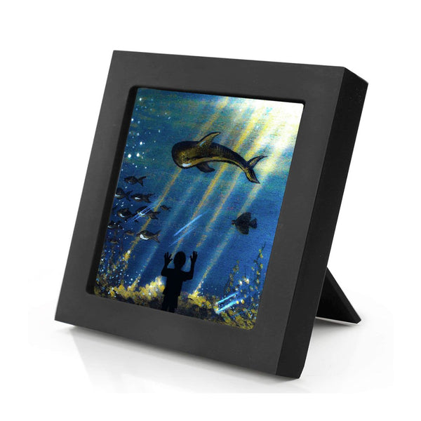 Aquarium - silhouette Original miniature art Print on 4 x 4 wood-Print-Mini Frame (+$5.00)-PocketArtDesigns-Original Art-wall rt