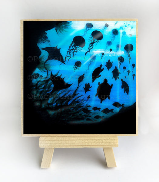 Jelly fish, turtles manta rays cave - underwater - silhouette Original miniature art Print on 4 x 4 wood-Print-Easel Wood-PocketArtDesigns-Original Art-wall rt