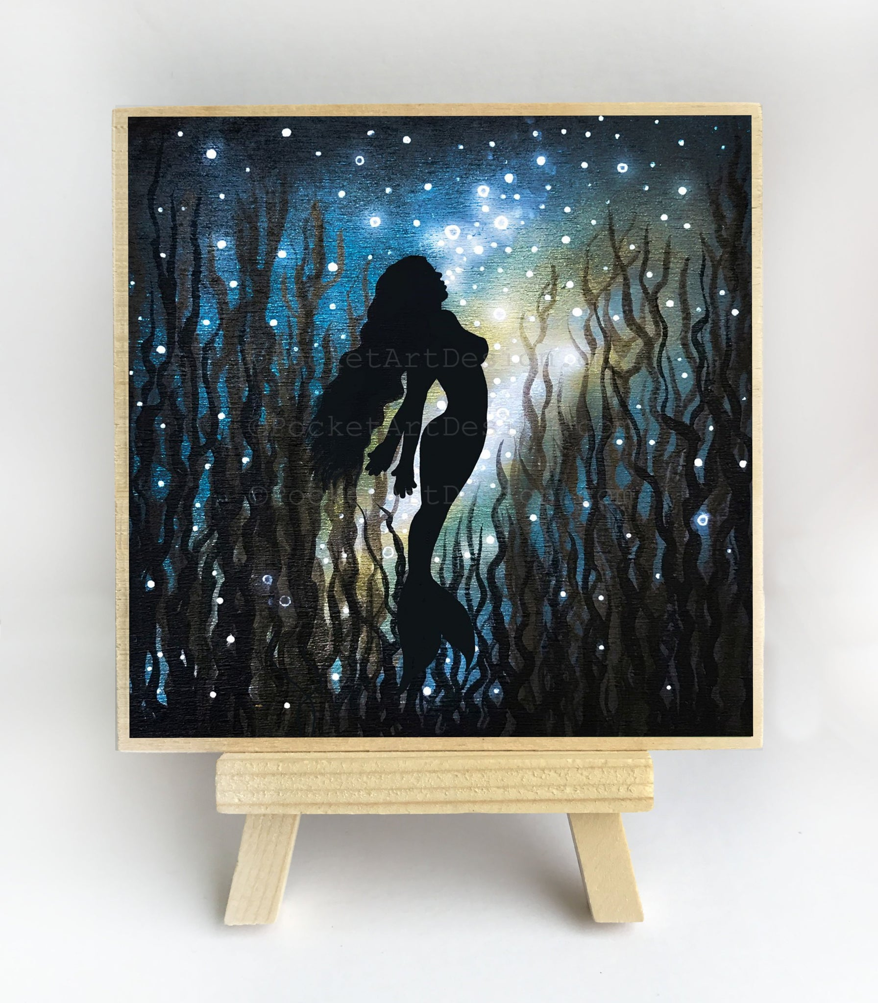 Mermaid swim - underwater - silhouette Original miniature art Print on 4 x 4 wood-Print-Easel Wood-PocketArtDesigns-Original Art-wall rt