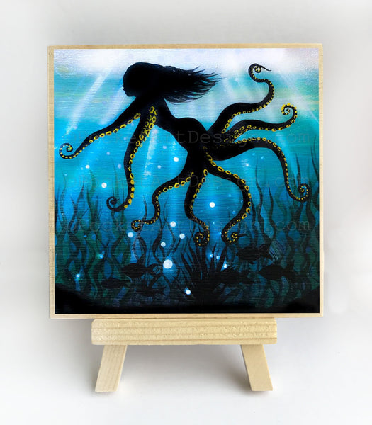Mermaid octopus - underwater - silhouette Original miniature art Print on 4 x 4 wood-Print-Easel Wood-PocketArtDesigns-Original Art-wall rt