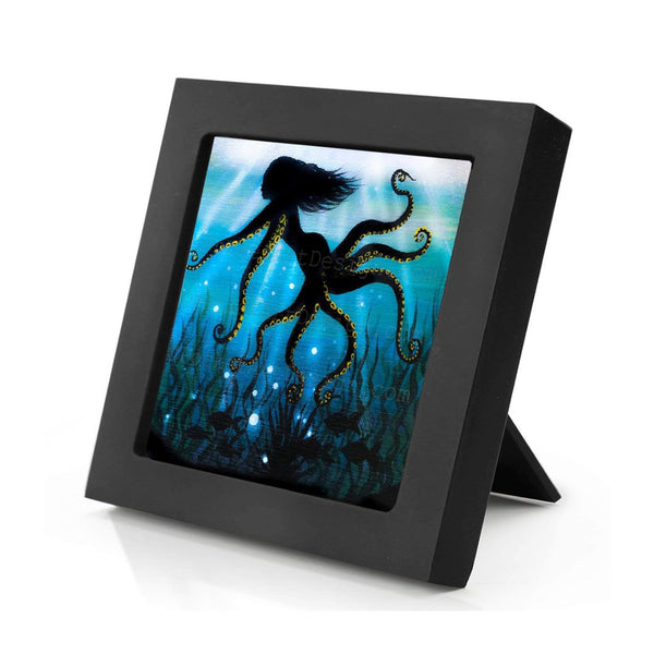 Mermaid octopus - underwater - silhouette Original miniature art Print on 4 x 4 wood-Print-Mini Frame (+$5.00)-PocketArtDesigns-Original Art-wall rt