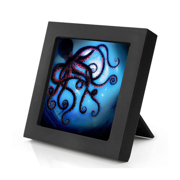 Octopus - underwater - silhouette Original miniature art Print on 4 x 4 wood-Print-Mini Frame (+$5.00)-PocketArtDesigns-Original Art-wall rt