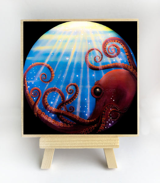 Octopus - underwater - silhouette Original miniature art Print on 4 x 4 wood-Print-Easel Wood-PocketArtDesigns-Original Art-wall rt