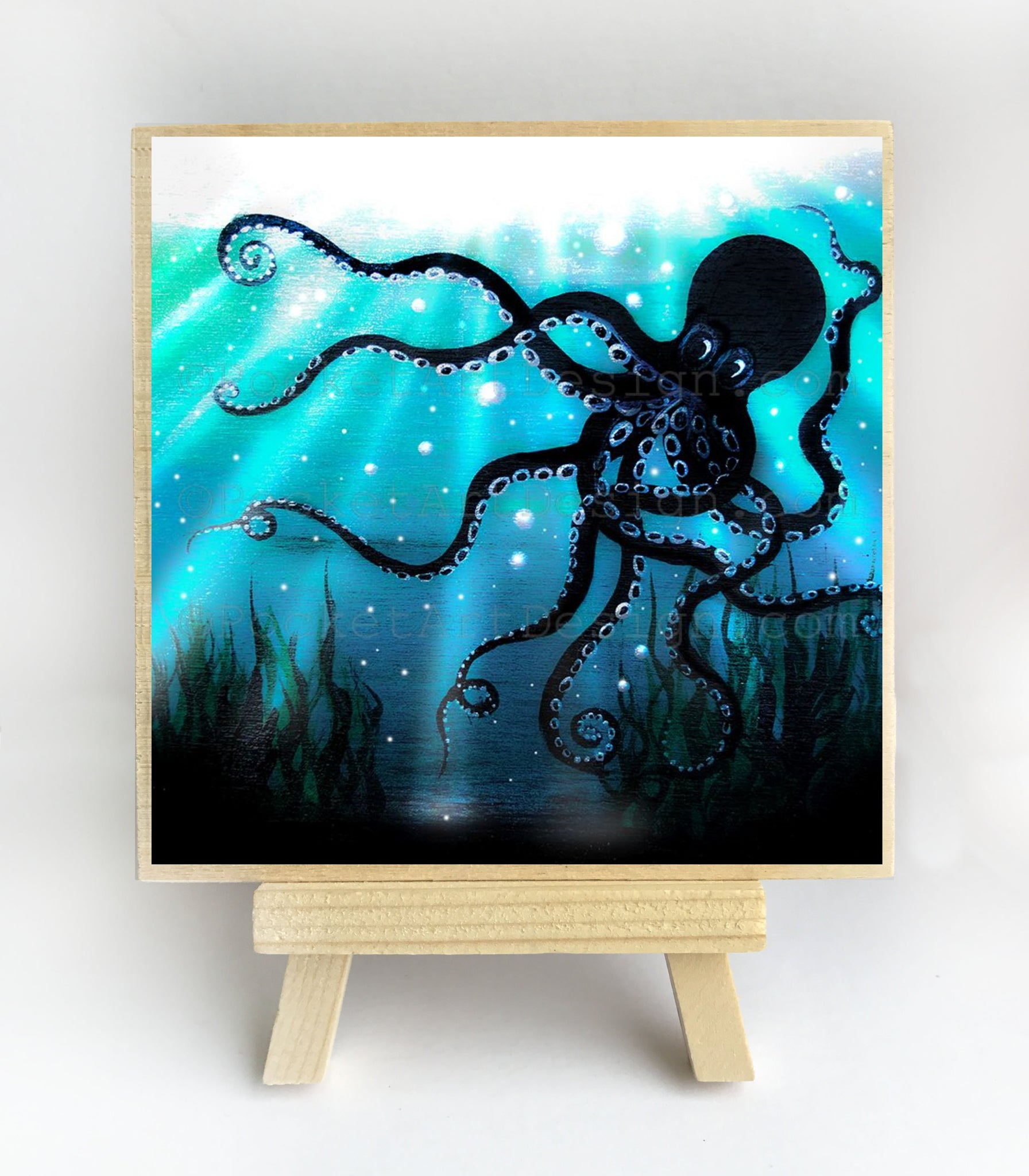 Octopus - underwater - silhouette - original miniature art print on 4 x 4 wood-Print-Easel Wood-PocketArtDesigns-Original Art-wall rt