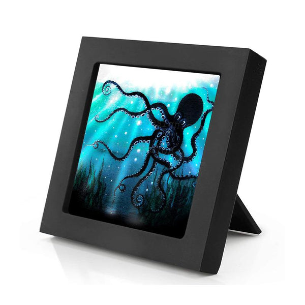 Octopus - underwater - silhouette - original miniature art print on 4 x 4 wood-Print-Mini Frame (+$5.00)-PocketArtDesigns-Original Art-wall rt