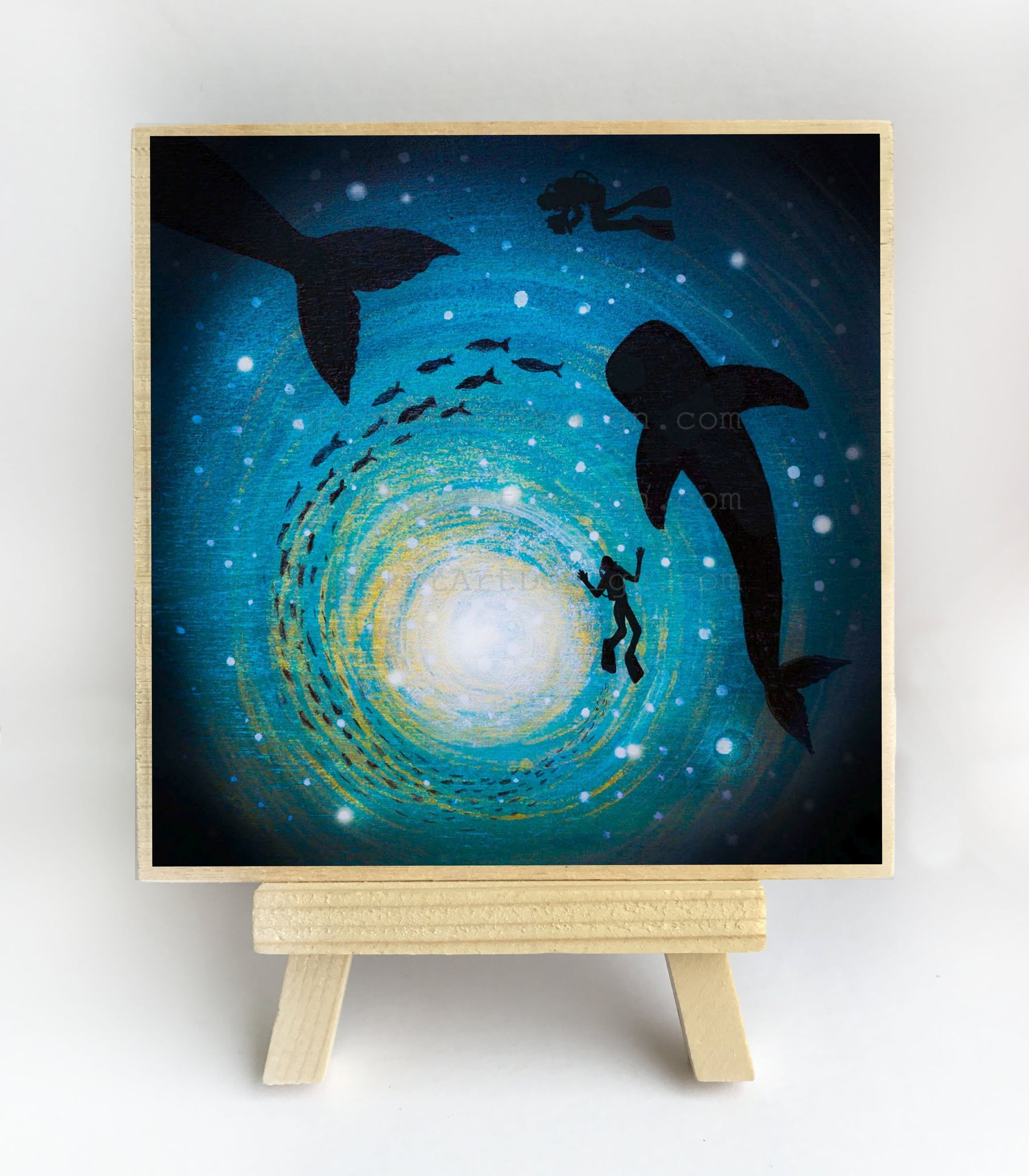 Whales and divers in a circle - underwater - silhouette - original miniature art print on 4 x 4 wood-Print-Easel Wood-PocketArtDesigns-Original Art-wall rt