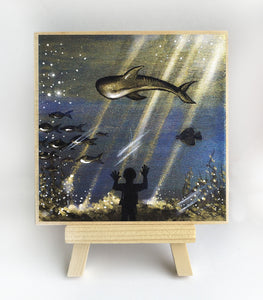 Boy watching aquarium - silhouette - original miniature art print on 4 x 4 wood-Print-Easel Wood-PocketArtDesigns-Original Art-wall rt