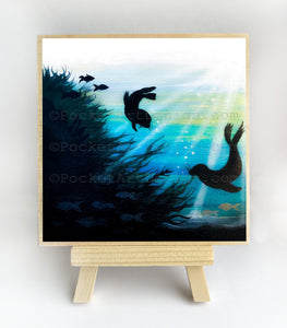 Seals swimming - underwater - silhouette - original miniature art print on 4 x 4 wood-Print-Easel Wood-PocketArtDesigns-Original Art-wall rt