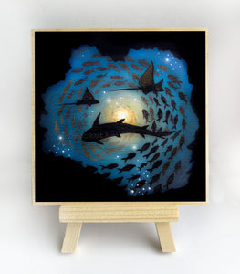 Swim in a circle - underwater - silhouette - original miniature art print on 4 x 4 wood-Print-Easel Wood-PocketArtDesigns-Original Art-wall rt