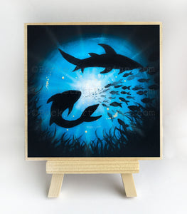 Sharks swim in a circle - underwater - silhouette - original miniature art print on 4 x 4 wood-Print-Easel Wood-PocketArtDesigns-Original Art-wall rt