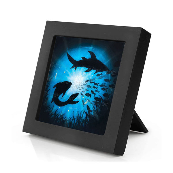 Sharks swim in a circle - underwater - silhouette - original miniature art print on 4 x 4 wood-Print-Mini Frame (+$5.00)-PocketArtDesigns-Original Art-wall rt