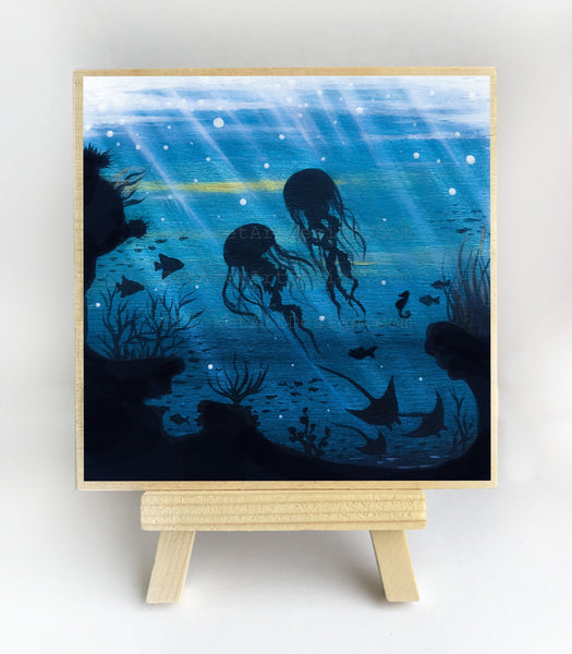 Jelly fish manta ray cave - underwater - silhouette - original miniature art print on 4 x 4 wood-Print-Easel Wood-PocketArtDesigns-Original Art-wall rt