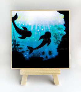 Whale swim in a cave - underwater - silhouette - original miniature art print on 4 x 4 wood-Print-Easel Wood-PocketArtDesigns-Original Art-wall rt