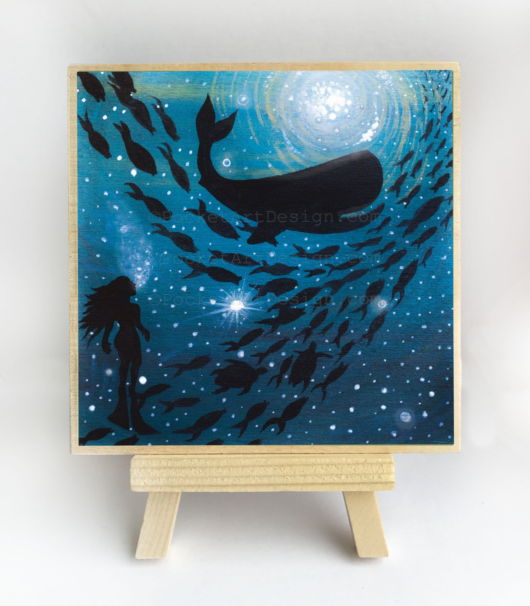 Girl watching whale and fish swim in a circle - underwater - silhouette - original miniature art print on 4 x 4 wood-Print-Easel Wood-PocketArtDesigns-Original Art-wall rt