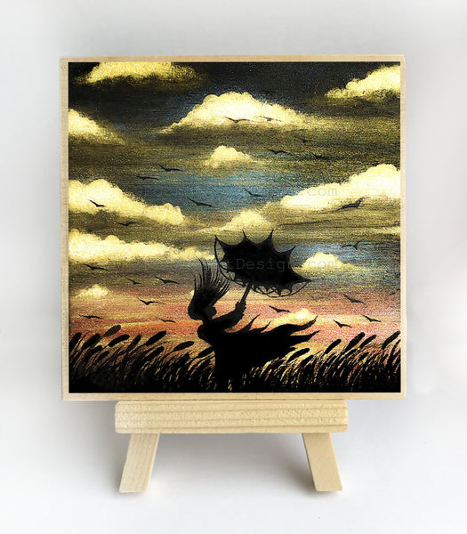 Girl with umbrella - windy night - silhouette - original miniature art print on 4 x 4 wood-Print-Easel Wood-PocketArtDesigns-Original Art-wall rt