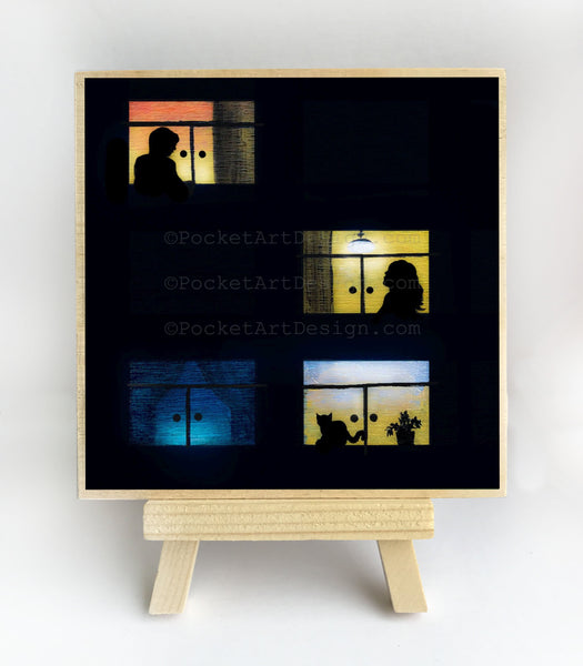 Four windows - silhouette - original miniature art print on 4 x 4 wood-Print-Easel Wood-PocketArtDesigns-Original Art-wall rt