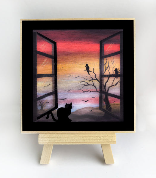 Cat on a window - night - silhouette - original miniature art print on 4 x 4 wood-Print-Easel Wood-PocketArtDesigns-Original Art-wall rt