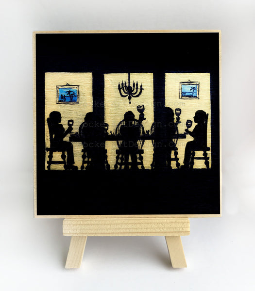 Family celebrating the holiday - night - silhouette - original miniature art print on 4 x 4 wood-Print-Easel Wood-PocketArtDesigns-Original Art-wall rt