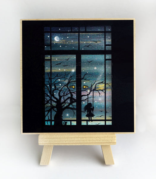 Girl swing at night - view through a window - silhouette - original miniature art print on 4 x 4 wood-Print-Easel Wood-PocketArtDesigns-Original Art-wall rt