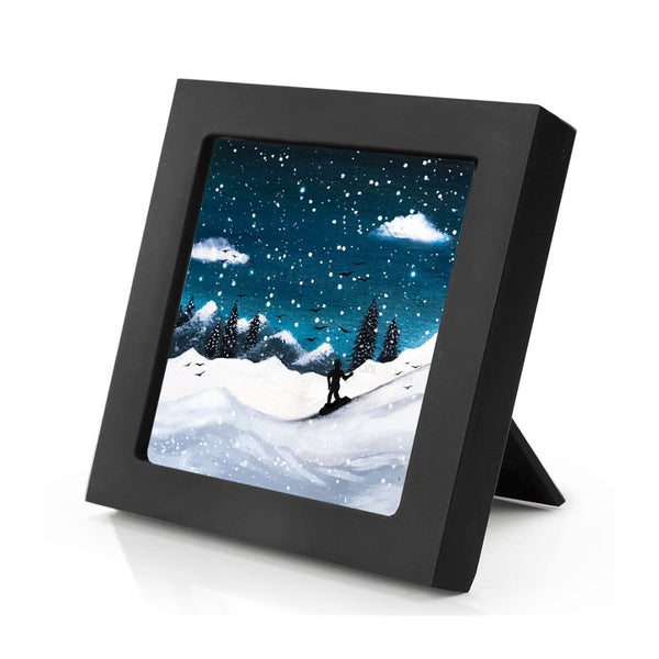 Boy ski at night - silhouette - original miniature art print on 4 x 4 wood-Print-Mini Frame (+$5.00)-PocketArtDesigns-Original Art-wall rt