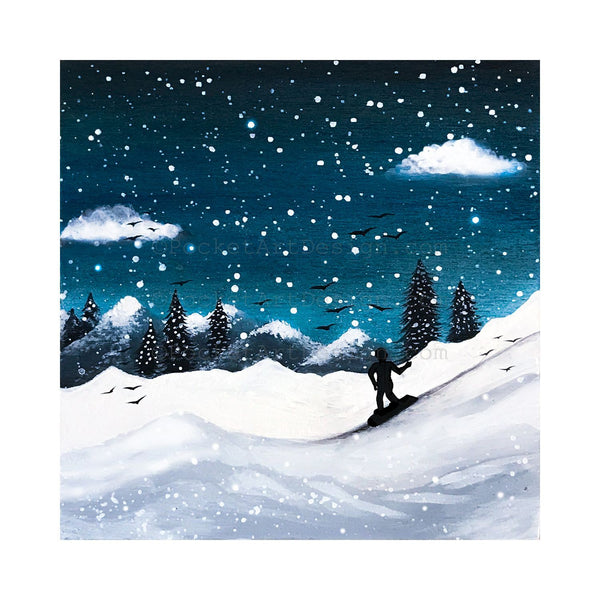 Boy ski at night - silhouette - original miniature art print on 4 x 4 wood-Print-Easel Wood-PocketArtDesigns-Original Art-wall rt